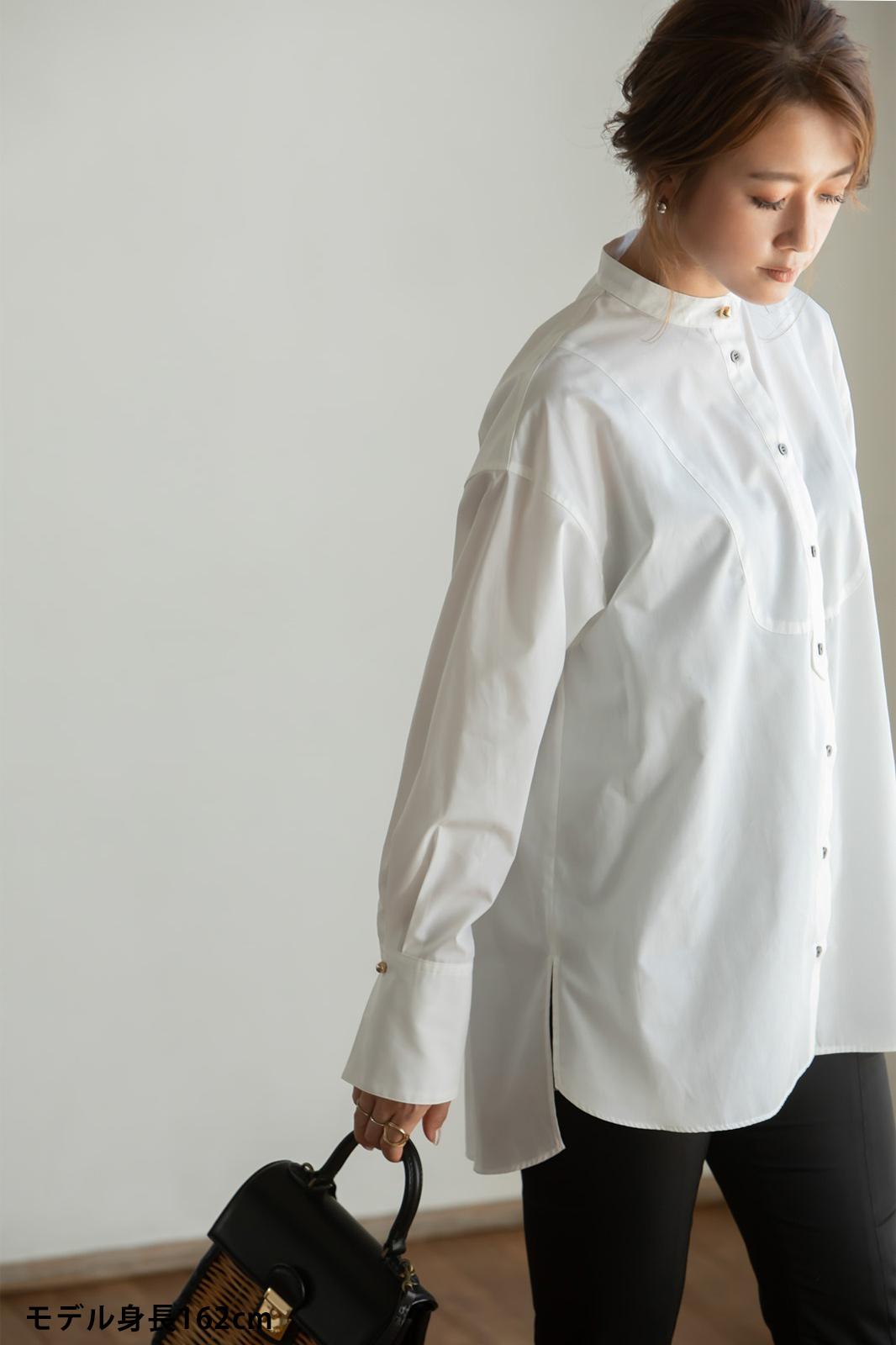 【VERY10月号掲載商品】スタンドカラーオーバーブラウス ホワイト
