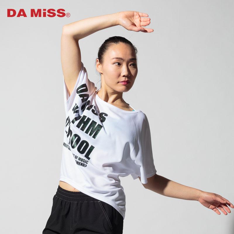 DAMISS フィットネスウェア 【吸水速乾】 グリッターサイドロゴTシャツ DAMISS 【ダミス】 レディース ヨガ ダンス ウェア1014-0301