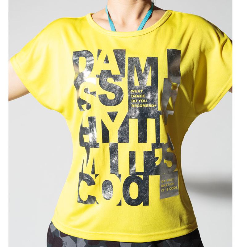 DAMISS フィットネスウェア 【吸水速乾】 シルバー箔Tシャツ DAMISS 【ダミス】 レディース ヨガ ダンス ウェア1014-0305