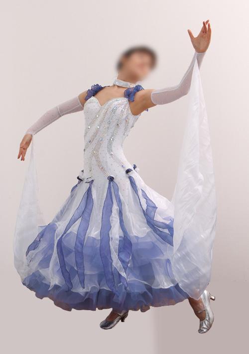 ダンスドレス モダン WQ-MD10-1wb/白+青