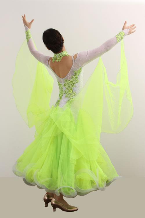 ダンスドレス モダン WQ-MD3-1yg/白+黄緑