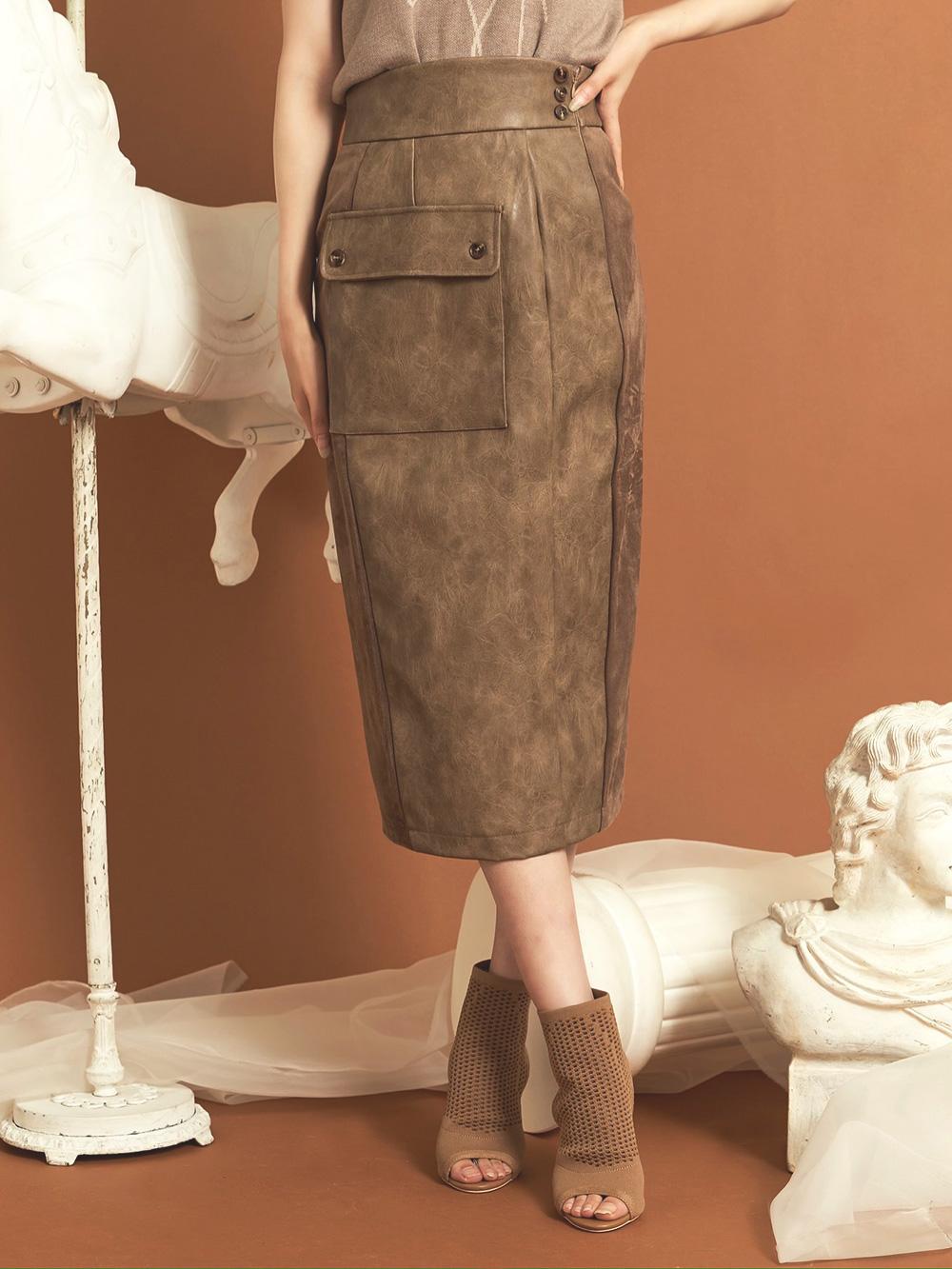 レザーコンビミディアムスカート