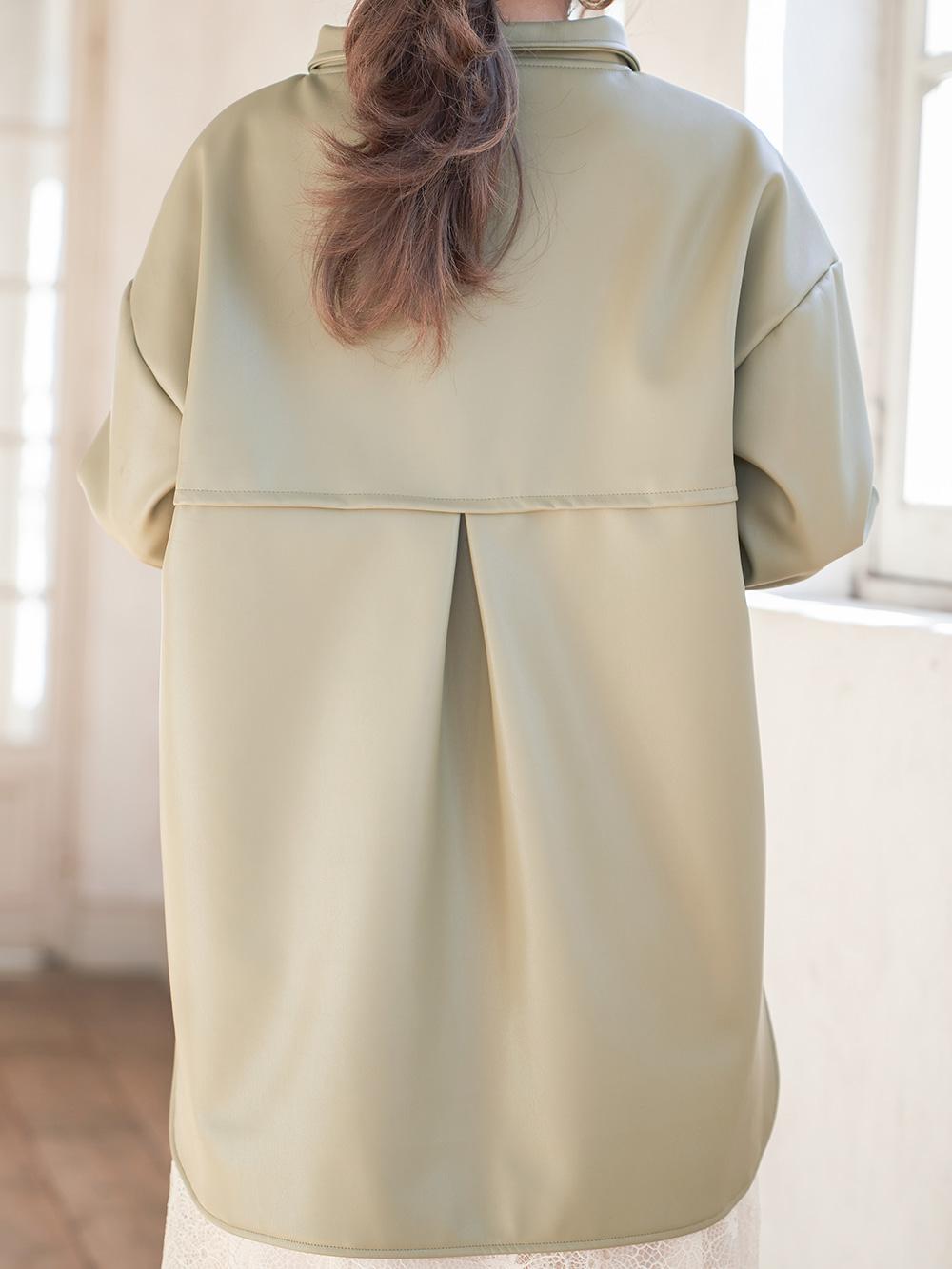 ヴィーガンレザーシャツジャケット