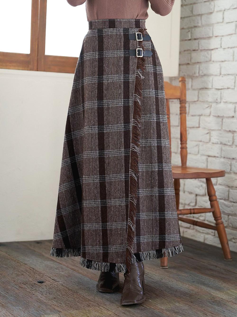 フリンジチェックラップスカート