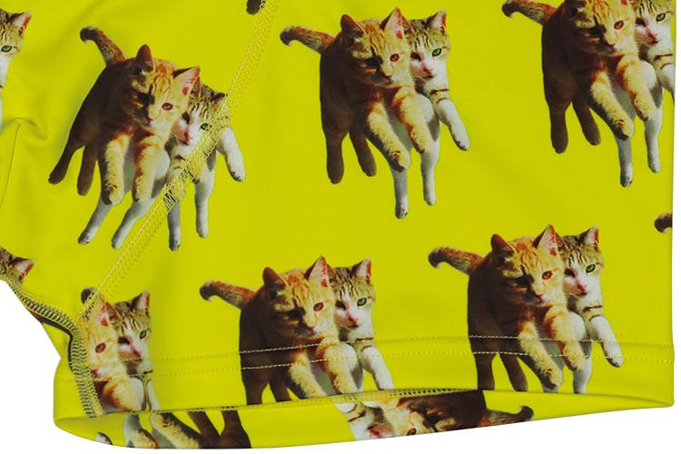 DARKSHINY×TOBINEKO 飛び猫 コラボ メンズマイクロボクサーパンツ - YELLOW イエロー