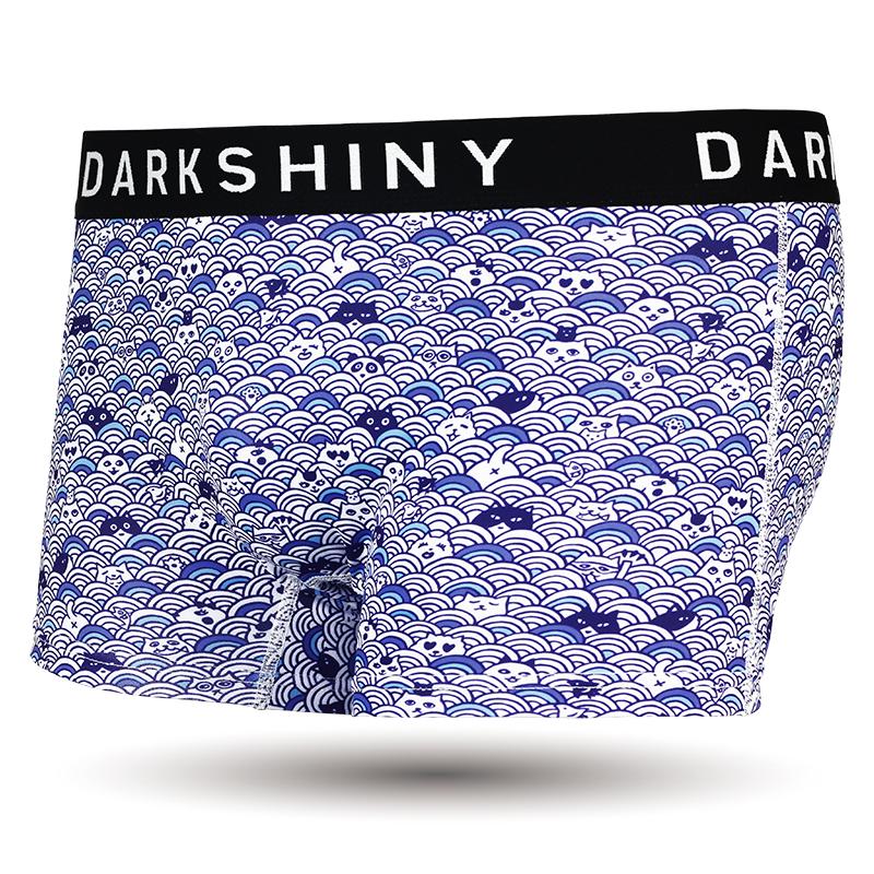 DARKSHINY×猫だらけ コラボ ユニセックスボクサーパンツ - 青海波