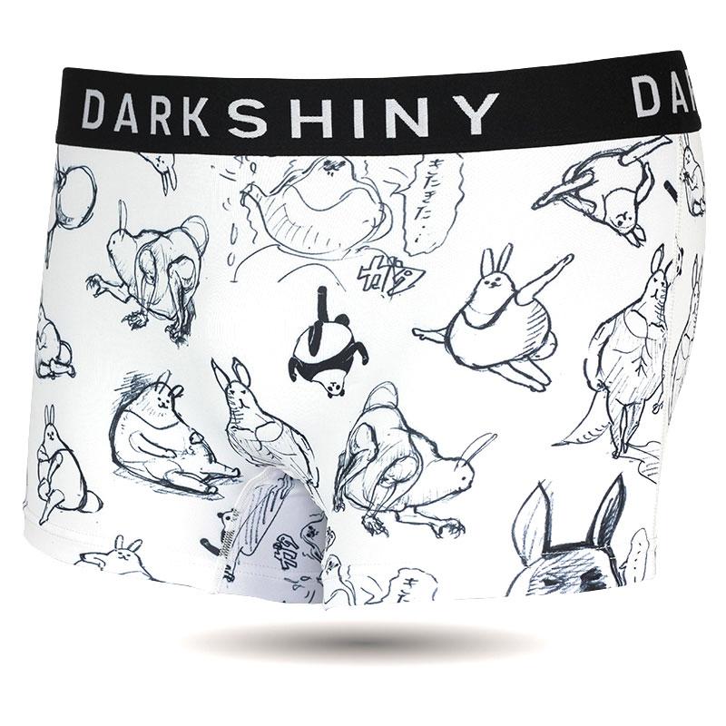 DARKSHINY×ぽっこりーず コラボ ユニセックスボクサーパンツ - 手書きタッチ(モノクロ)