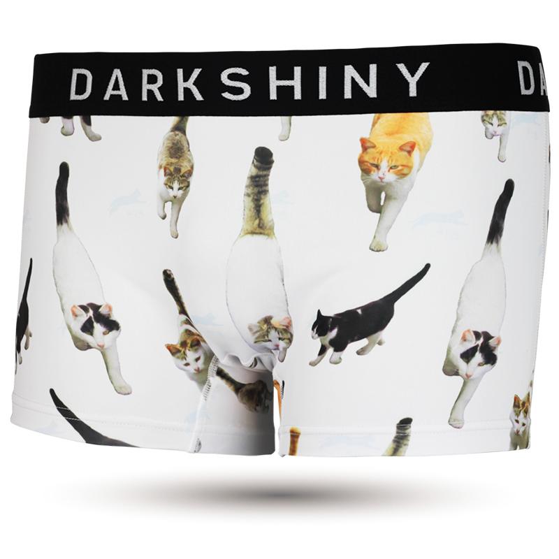DARKSHINY ×飛び猫 コラボ ユニセックスボクサーパンツ - Marching cats マーチングキャッツ WHITE ホワイト