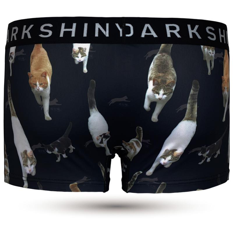 DARKSHINY ×TOBINEKO 飛び猫 コラボ ユニセックスボクサーパンツ - Marching cats マーチングキャッツ BLACK ブラック
