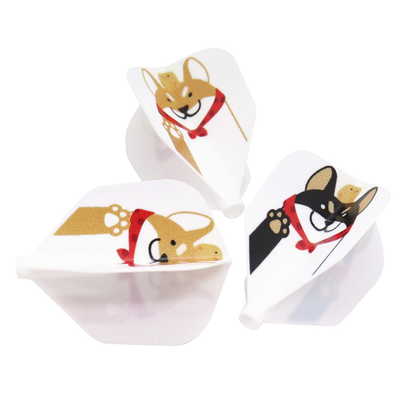D.CRAFT(ディークラフト) Fit Flight(フィットフライト) 柴犬 シェイプ ホワイト (ダーツフライト)