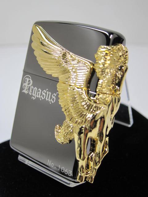 ジッポーライター: 《限定》Zippo Pegasus 【 ペガサス 】 3面連続メタル ☆ブラック&ゴールドメタル☆ 黒金コンビ 金メタル インナーもゴールド!! ★超豪華!!★【ギフト包装】 【母の日】 【父の日】 【ジッポ】 【ジッポー】 【ライター】 【ダルマヤ】