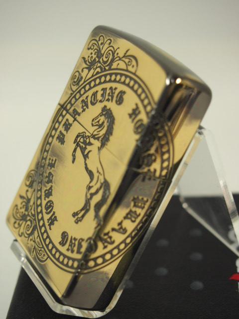 ジッポーライター: Zippo ホース スタンプ //アンティーク// 馬 ウマ うま 「ブラス/真鍮」 エッチング彫刻 《2面加工》♪お洒落!!♪【ギフト包装】 【母の日】 【父の日】 【ジッポ】 【ジッポー】 【ライター】 【ダルマヤ】 【人気商品】