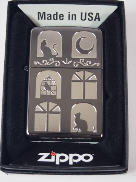 ジッポーライター: Zippo Cat // キャット ウインドウ // ネコ 猫 キャット 窓 まど BK 【 ブラック シルバー 】 NEW レギュラー 200 ☆カワイイ!!☆【ギフト包装】 【母の日】 【ジッポ】 【ジッポー】 【ライター】 【ダルマヤ】