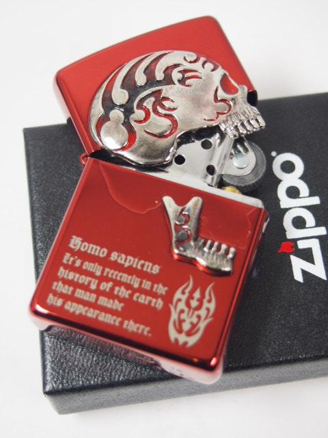 ジッポーライター: Zippo スカル 【 ゴースト メタル 】 ドクロ Skull // ゴーストライター // トリック & メッセージ 赤 レッド ☆ゴージャス!!☆【ギフト包装】 【母の日】 【父の日】 【ジッポ】 【ジッポー】 【ライター】 【ダルマヤ】
