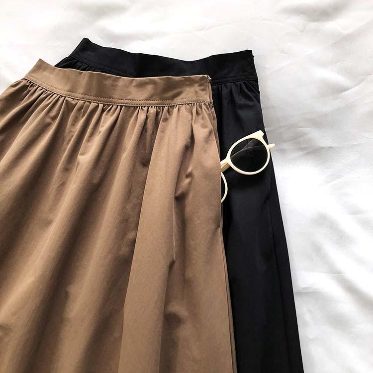 定番シンプル ギャザー Aライン ミモレ丈 スカート