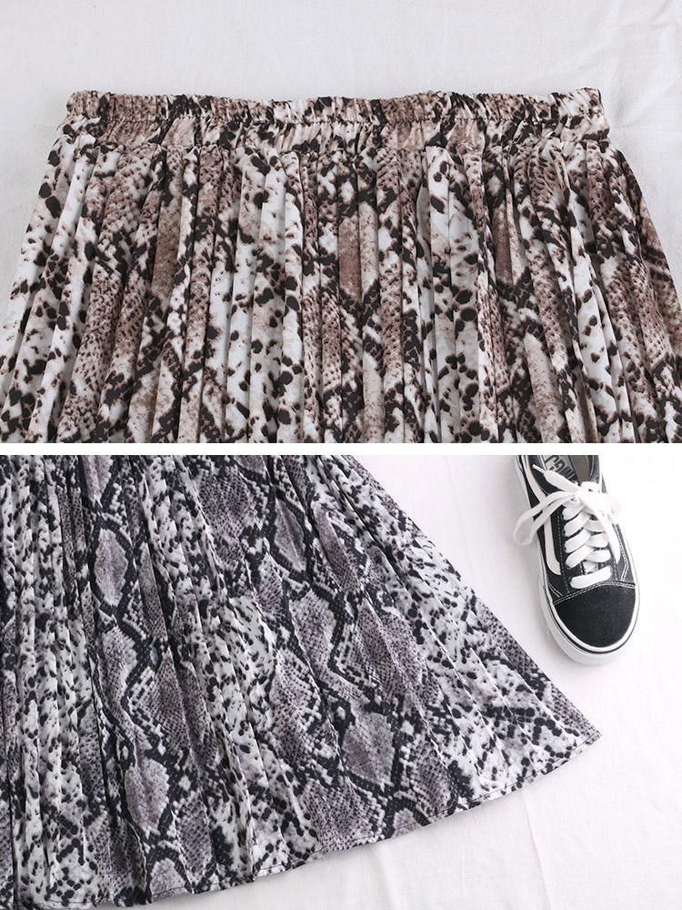 パイソン柄 ひょう柄 ロング丈 プリーツスカート