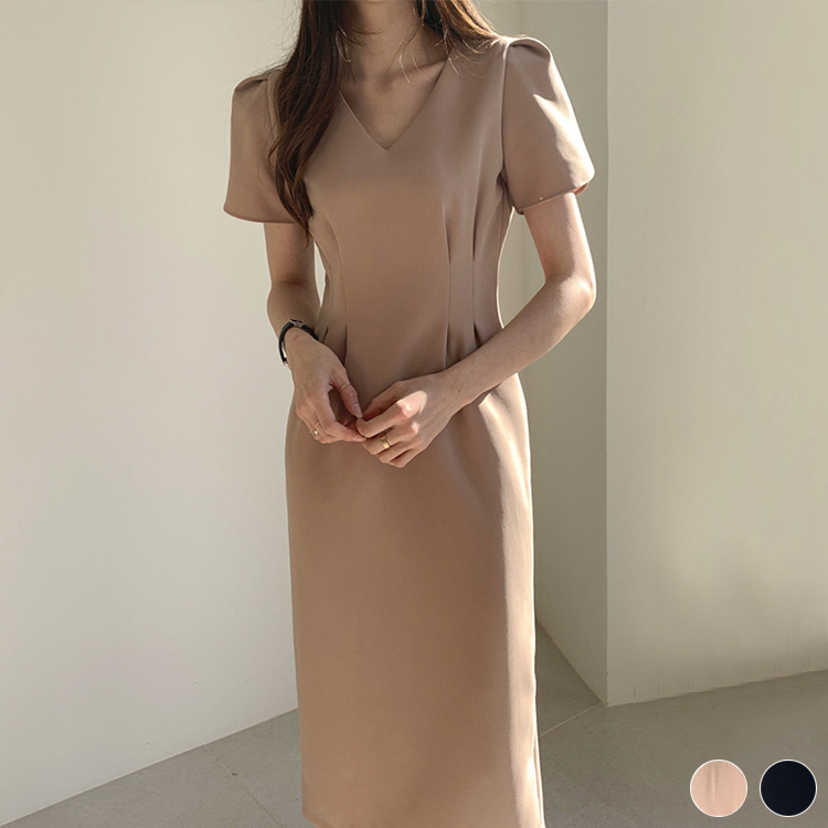 チューリップ袖 ストレートライン ワンピース ドレス