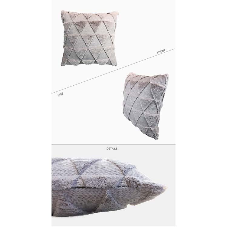 三角 ボア デザイン クッションカバー