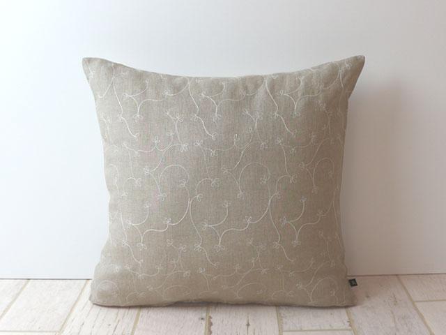 刺繍リネン/クッションカバー/30×30cm