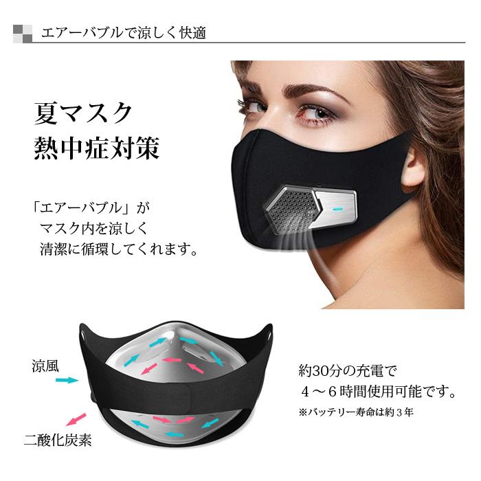 エアーバブルマスク 扇風機 ファン 付き エアー マスク 立体