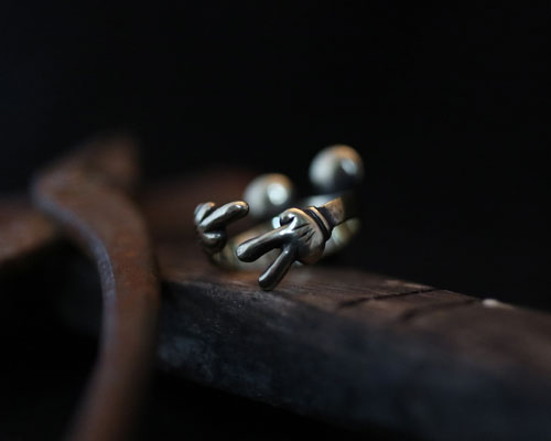 F**K & PEACE Skull Ring -Brass