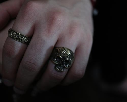 """Daddy's """"D3"""" Skull Ring -BRASS"""