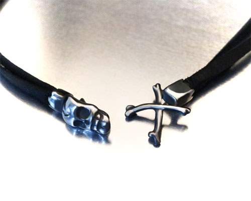 """MEMENTO MORI"" 2way LeatherWrap -SILVER"