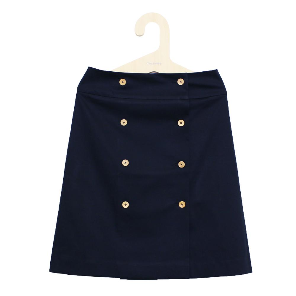 ensemble dessinee (アンサンブル・デシネ) - Cotton Wrap Skirt  (巻きスカート) (Navy)