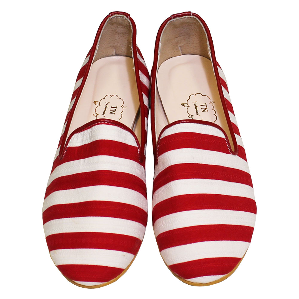 TN Shoes (ティーエヌ・シューズ) - Border Flat Penny Loafers (フラットシューズ) (Red)