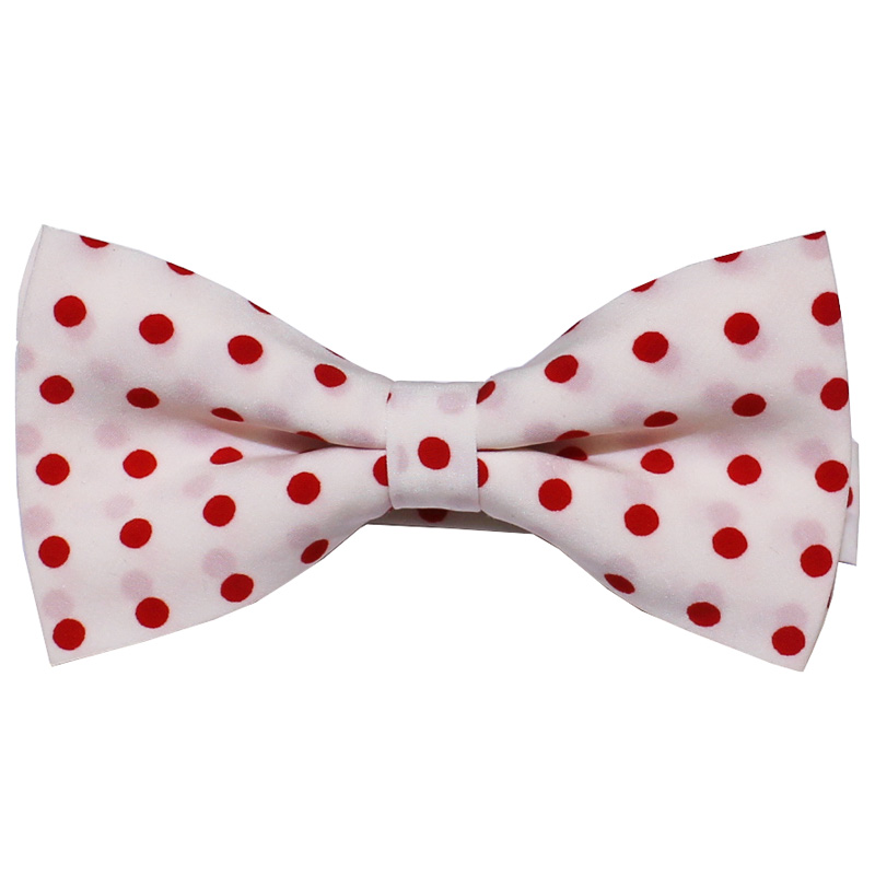 Solomon:Tie - Bow Tie [Cotton Midium Dot] (蝶ネクタイ) (White/Red)