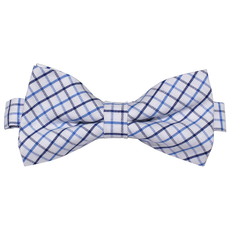 Solomon:Tie - Bow Tie [Cotton Midium Check] (蝶ネクタイ) (White/Sax)