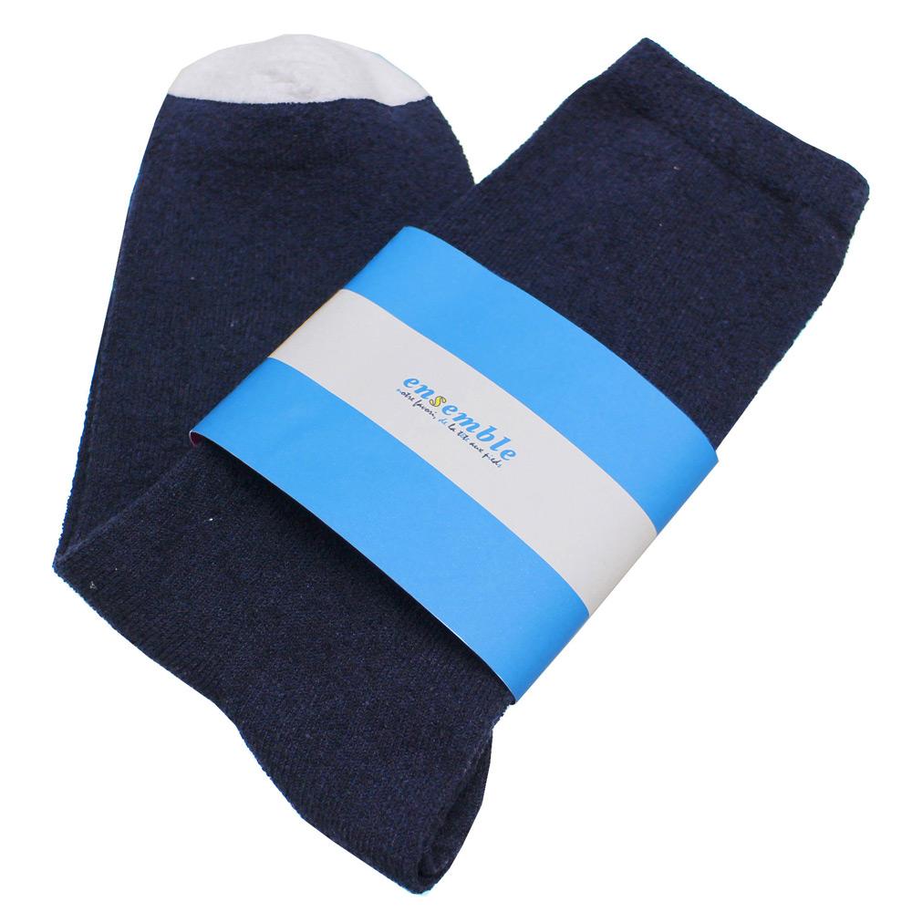 ensemble dessinee (アンサンブル・デシネ) - Towel Touch Regular Socks (ソックス) (Navy)