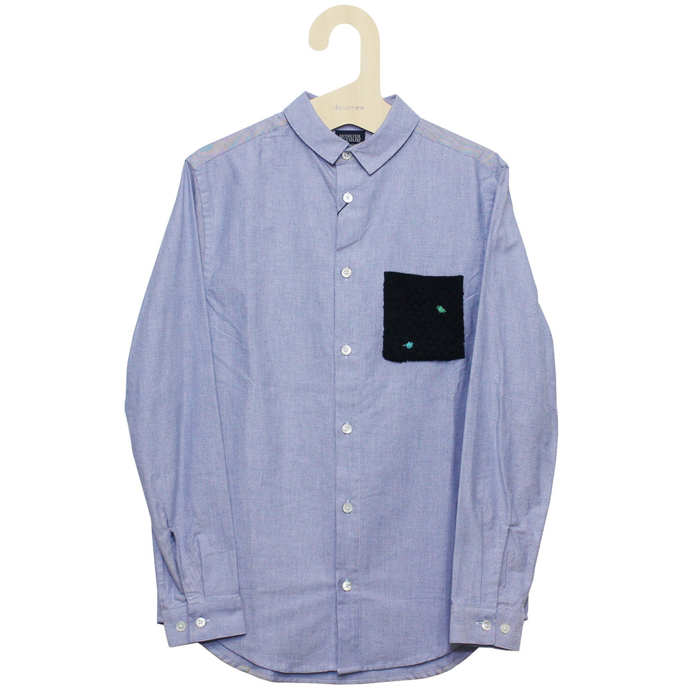 Monsieur Lacenaire (ムッシュー・ラスネール) - Shirt with Knitted Pocket Oxford (長袖シャツ) (Blue)