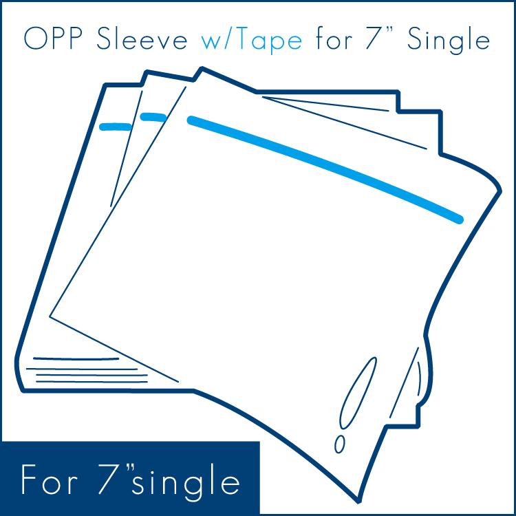"""OPP Sleeves w/Tape for 7"""" (100pcs) - 7""""シングル用外袋/テープ付 (100枚セット) (Accesary)"""
