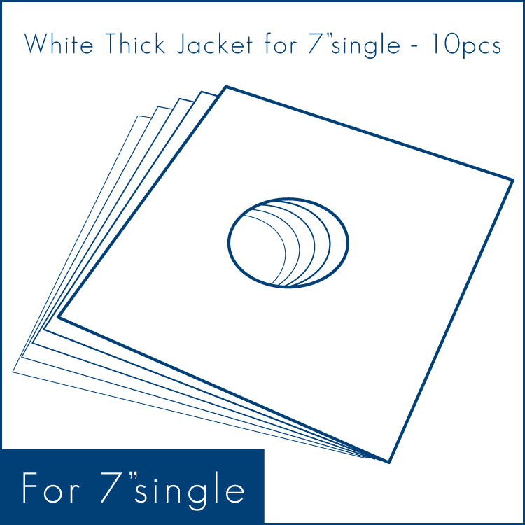 """◇ White Thick Jacket for 7"""" (10/50pcs) - 7""""シングル用/厚紙ジャケット (10/50枚セット) (Accesary)"""