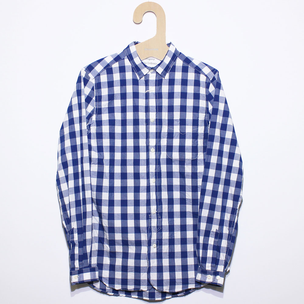 Gingamp (ギンガム) - Ordinary Shirts Gingamp (長袖BDシャツ) (Navy Check (XL))