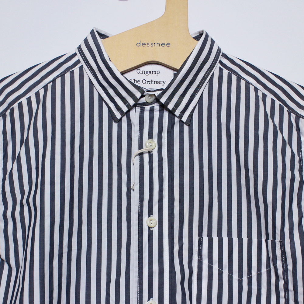 Gingamp (ギンガム) - Ordinary Shirts Gingamp (長袖BDシャツ) (Navy Stripe)