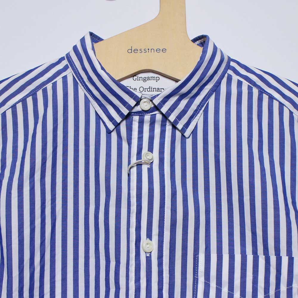 Gingamp (ギンガム) - Ordinary Shirts Gingamp (長袖BDシャツ) (Blue Stripe)