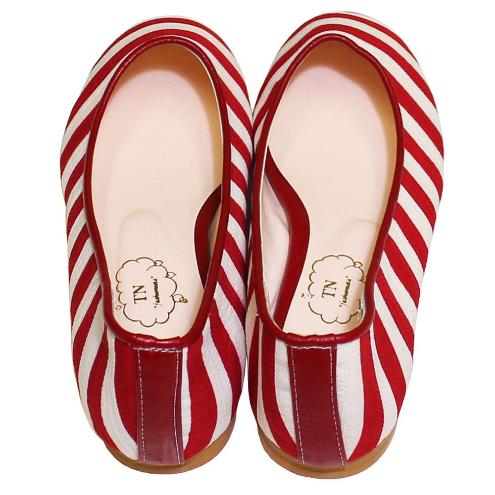 TN Shoes (ティーエヌ・シューズ) - Border Flat Shoes (フラットシューズ) (Red)
