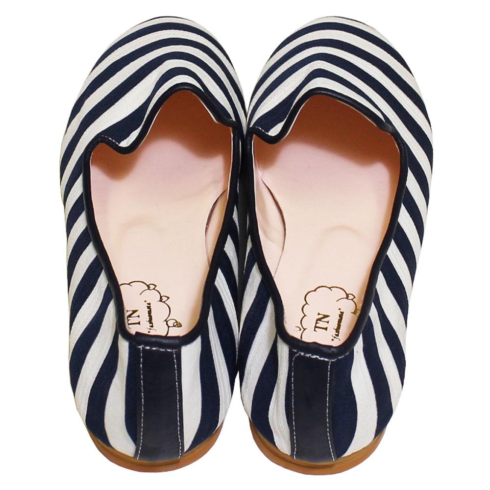 TN Shoes (ティーエヌ・シューズ) - Border Flat Penny Loafers (フラットシューズ) (Navy)