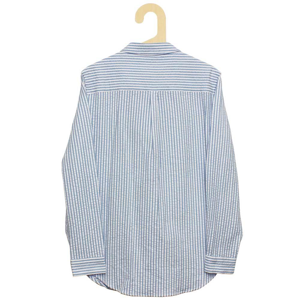 Monsieur Lacenaire (ムッシュー・ラスネール) - Twisted Pocket Stripy Seersucker (長袖シャツ) (Sky)