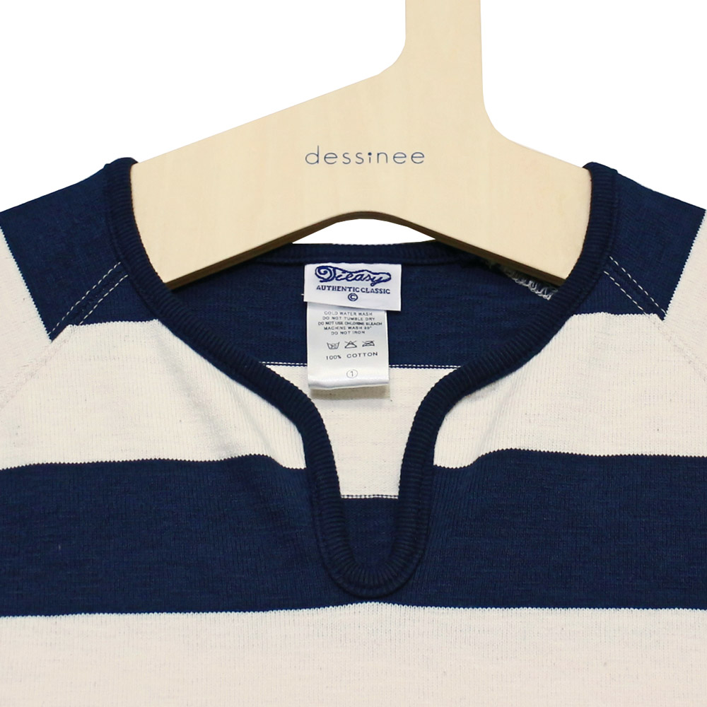 Tieasy AUTHENTIC CLASSIC (ティージー) - Wide Border Drop One Pieace Dress (ワンピース) (Natural/Navy)