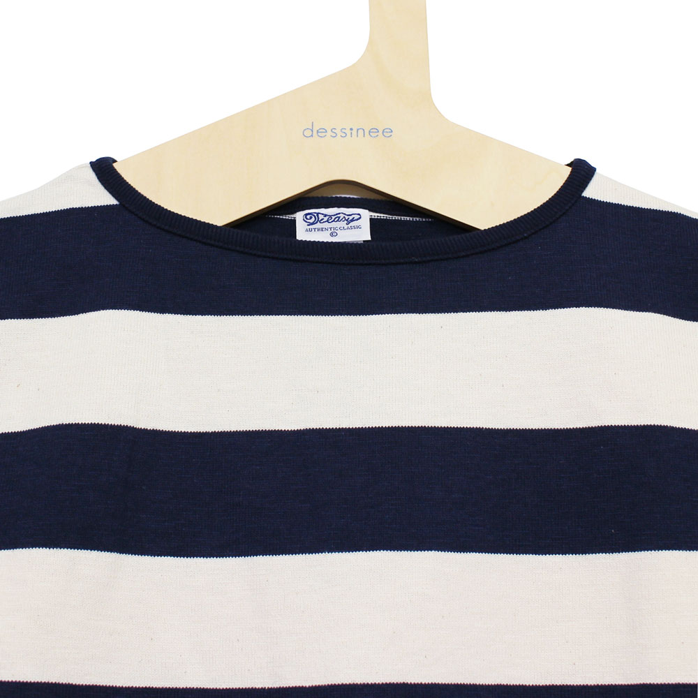 Tieasy AUTHENTIC CLASSIC (ティージー) - HDCS Boatneck S/S Wide Border Basque Shirt (半袖バスクシャツ) (Natural/Navy)