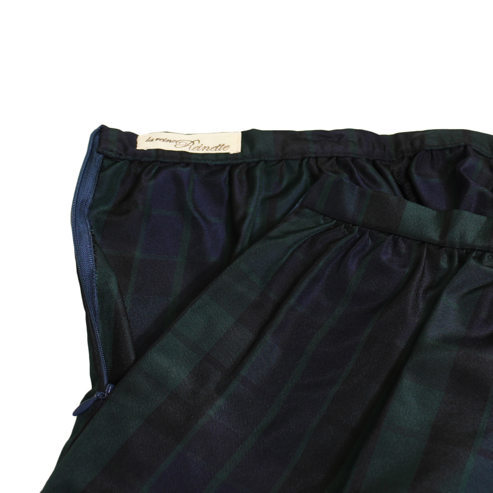 la reine Reinette (ラ・レーヌ・レネット) - チェック柄シンプルギャザースカート (スカート) (Black)