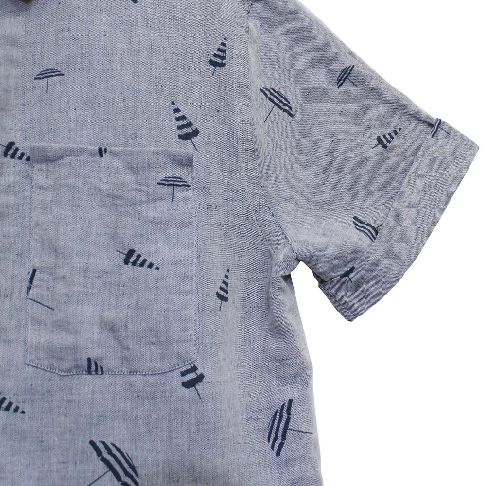 Monsieur Lacenaire (ムッシュー・ラスネール) - Shirt S/S (半袖シャツ) (Navy Umbrella)