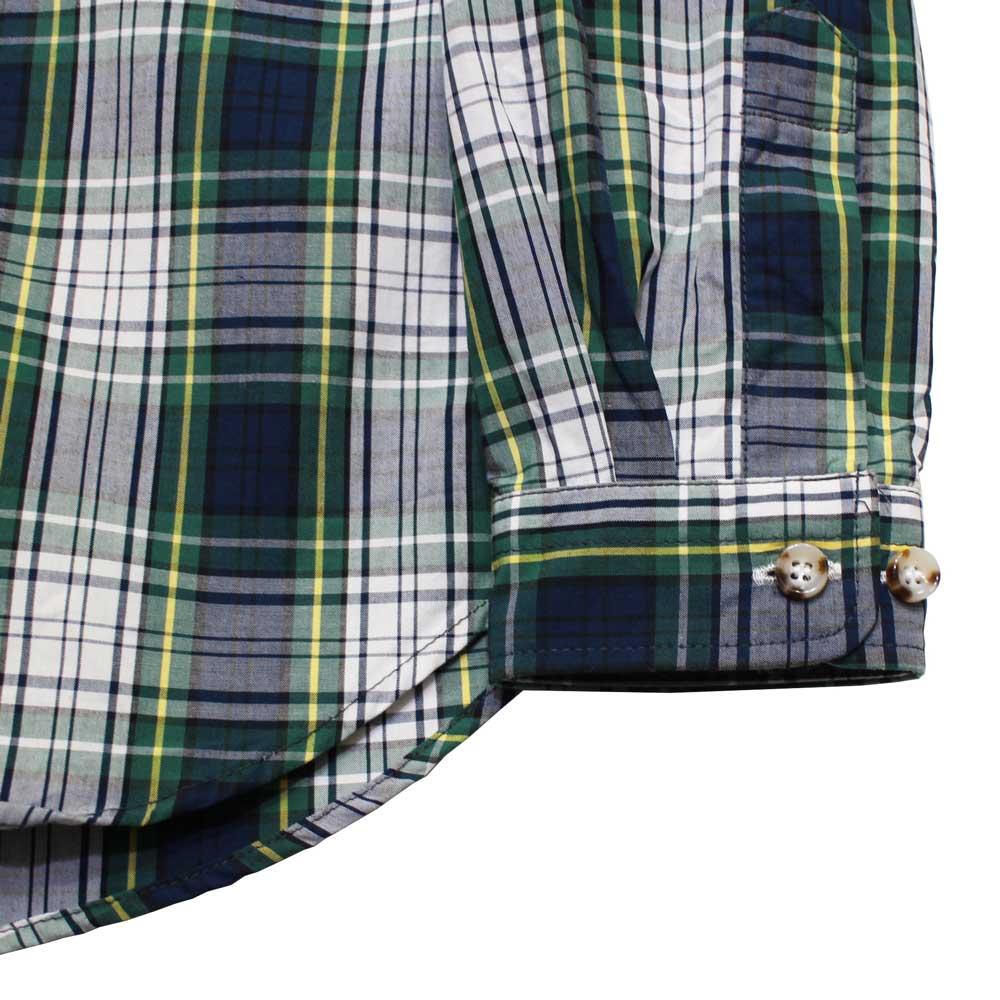 Gingamp (ギンガム) - Ordinary Shirts Typewriter Cloth (長袖BDシャツ) (Green Tartan)