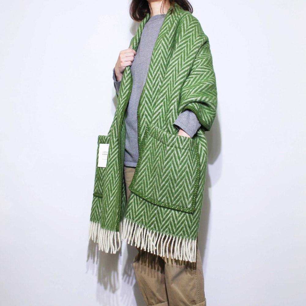 Lapuan Kankurit (ラプアン・カンクリ) - IIDA / Pocket Shawl (ショール) (Moss/White)