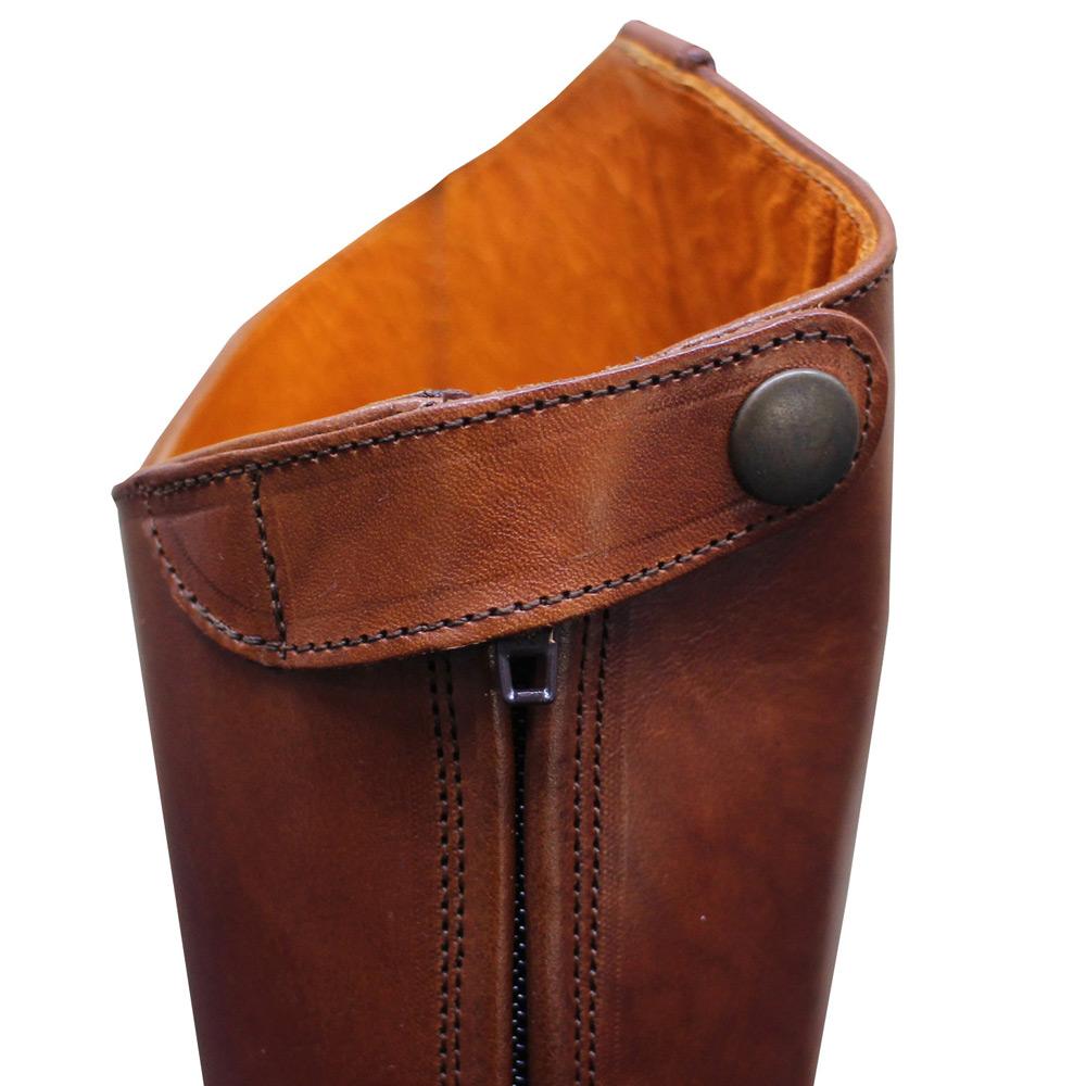 Palanco (パランコ) -  Back Zip Reather Long Boots (ロングブーツ) (Marron)