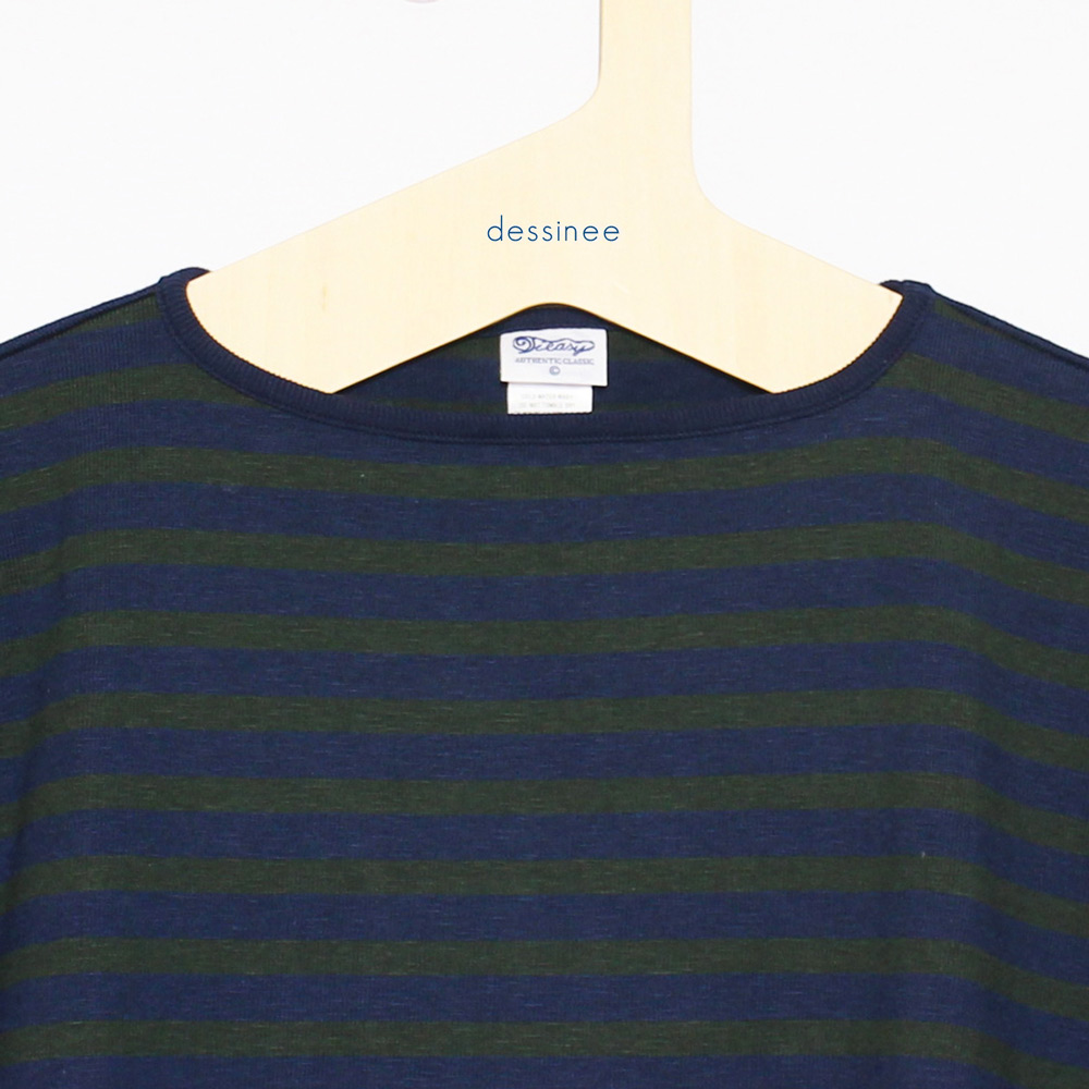 Tieasy AUTHENTIC CLASSIC (ティージー) - HDCS Boatneck S/S Basque Shirt (半袖バスクシャツ) (Navy/Forest Green)