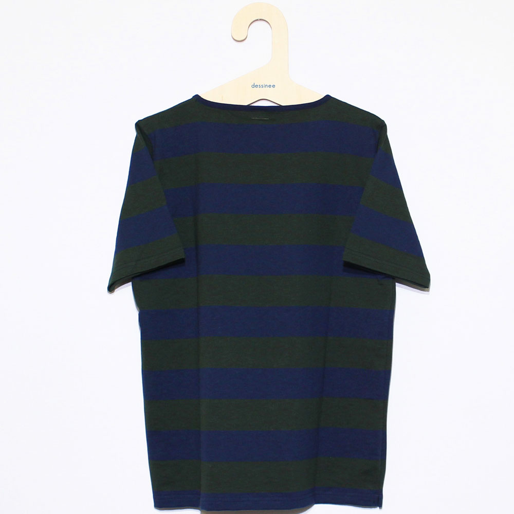 Tieasy AUTHENTIC CLASSIC (ティージー) - HDCS Boatneck S/S Wide Border Basque Shirt (半袖バスクシャツ) (Navy/Forest Green)